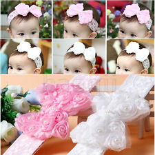 Baby Girl Kids Toddler Pearl Headband Rose Bow Lace Hairband Flower Headdress DA