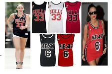 NEW Womens Celeb Varsity HEAT 6 & BULLS 33 Basketball Ladies Jersey Vest Top8-14