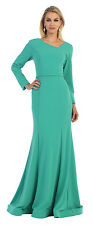 TheDressOutlet Long Mother of Bride Stretchy Fabric V Back Formal Plus Size Gown