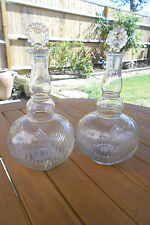 PAIR OF ANTIQUE VICTORIAN MOLDED GLASS DECANTERS  WITH STOPPER
