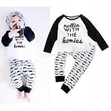 2pcs Phenovo Newborn Infant Baby Boy Girl Clothes T-shirt Tops+Pants Outfits Set