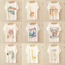 New Women Loose Casual Cotton Blouse T-shirt Short Sleeve Printing Batwing Tops