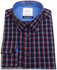 New Mens Ex M&S Blue Harbour Cotton Checked Tailored Fit Long Sleeve Shirt  M-XL