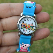 3D Cartoon Lovely Children Students Anime Pepa Pig Casual Quartz Wrist Watch 1pc