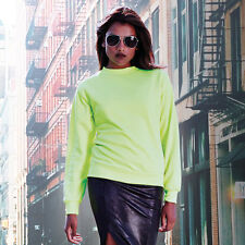 Unisex High Visibility Long Sleeve Adult Sweatshirt Crew Neck Bright Jumper New
