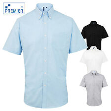 Premier Mens Classic Oxford Short Sleeve Smart Button Up Business Work Shirt New
