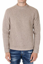 DSQUARED2 New Men Beige Round Neck Wool alpaca Sweater jumper Made In Italy NWT