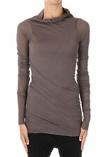 RICK OWENS New Woman Brown Cotton Long sleeve Tee t-shirt Made In Italy NWT