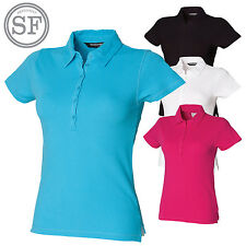 SF Womens Short Sleeve Stretch Polo Shirt Ladies Slim Fit Workwear Smart Top New