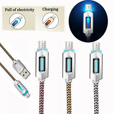 LED Light Nylon Braided Micro USB Charge Data Sync Cable For Android Samsung Lot