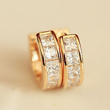 Women Men's Stainless Steel Rhinestone Crystal Huggie Hoop Studs Earrings 1 pair