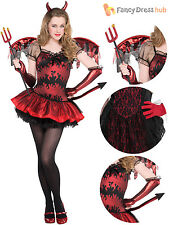 Teen Hot Stuff Devil Costume Girls Demon Halloween Fancy Dress Kids Satan Outfit