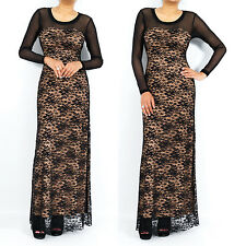 Sweetheart Neckline Lace Long Sleeve Maxi Dress Evening Party Prom Club