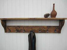 Rustic Pine Hat Coat Rack Shelf bowler hooks waxed /also in  Shabby Chic White