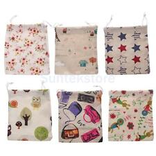25x20cm Drawstring Jewelry Gift Bag Cotton Linen Tea Pouch Wedding Favor 6 Print