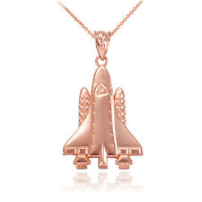 Polished 10k Rose Gold Space Ship Shuttle Pendant Necklace