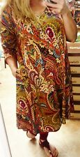 MUSTARD MULTI-COLORED PAISLEY TUNIC DRESS W/POCKETS BY HONEYME SIZE S, M, L