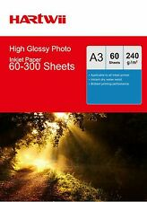 Hartwii A3 ( 420x 297mm) 240Gsm High Glossy Photo Paper Inkjet Paper Printing AU