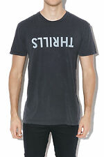 New THRILLS Thrills Logo Tee Vintage Black Mens