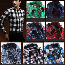 Hot Mens Classic Long Sleeve Flannel Plaids Checks Cotton Casual Dress Shirt Top
