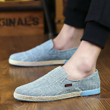 Mens Linen Shoes Breathable Outdoor Casual Sports Flat Comfortable Lazy Sneakers