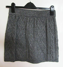 Grey Wool Cable Knitted Mini skirt Stretch Bodycon Elasticated size 12
