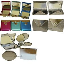 Technic Compact Double Sided Mirror Round Square Purse Shape Silver Colour Handy