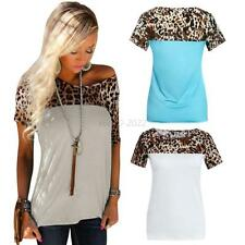 Summer Women's Short Sleeve Casual T-shirt Leopard Printing Round Neck Tops Tee