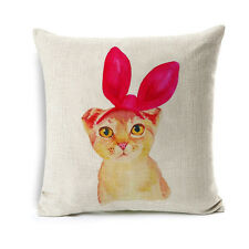 Cartoon Cat Cushion Covers Cotton Linen Throw Pillow Case