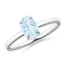 Natural Oval March Birthstone Aquamarine solitaire Claw ring 14k White Gold