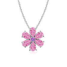 """Pear Shape Pink Sapphire Floral Pendant Necklace 14k White Gold 18"""" Chain"""