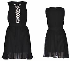 Womens Ladies Sleeveless Pleated Lace Up Front Skater Dress Black 6-12