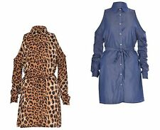 Womens Ladies Cold Shoulder Cut Belted Leopard Print Denim Shirt Dress 6-14