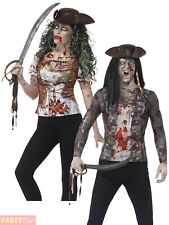 Adults Zombie Pirate T-Shirt Mens Ladies Halloween Fancy Dress Womens Wench Top