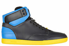 DIOR MEN'S SHOES HIGH TOP LEATHER TRAINERS SNEAKERS NEW BLUE 8BC
