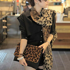 Women's Long Soft Snug Wrap Lady Shawl Silk Leopard Chiffon Scarf Shawl Popular