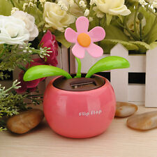 Flip Flap Solar Powered Flower Flowerpot Swing Car Dancing Toy Gift Home  LE