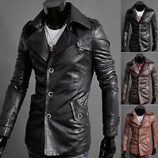 Men's Vintage Stylish Slim PU Leather Coat Motocycle Jackets Button Outerwear