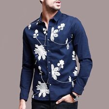 Hot Mens Casual Shirt Flower Embroidery Long Sleeves Lapel Cotton  M L VC-8449.M