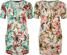 Womens Plus Scoop Neck Pocket Floral Print Sequin Short Sleeve Ladies Tunic Top