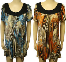 New Plus Size Womens Scoop Neck Short Sleeve Ladies Print Long Stretch Top 14-28