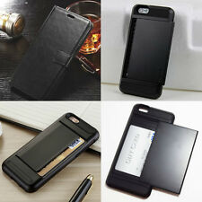 BLACK Slide Case Clip Leather Apple iPhone Samsung Galaxy Credit Card Wallet ID