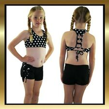 Childrens Dance Black & White Polka Dot Tie Shorts and Matching Cross Back Top