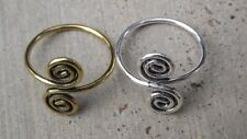 Indian ethnic spiral design toe ring, brass metal or brass with silver plating
