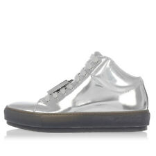 ACNE STUDIOS Woman Leather CLEO METALLIC High Sneakers with Removable Details