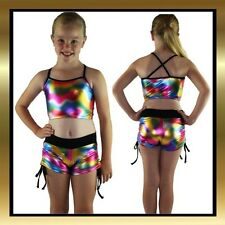 Multicolour Metallic Childrens Dance Costume - Tie Side Shorts & Matching Top