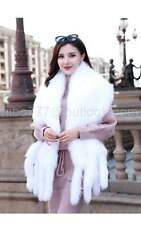 100%Real Genuine Knit Mink Fur Stole Cape Shawl Scarf Coat Ladies classics white