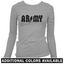 Army Rocks Women's Long Sleeve T-shirt - LS S-2X - Gift US Infantry Military USA