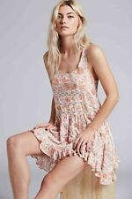 Free People Intimately Voile Lace Floral Print Ivory Trapeze Slip Dress NWT