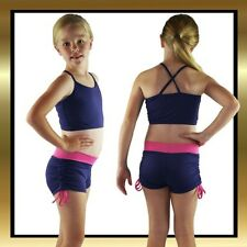 Childs Dance Wear Purple/Pink Tie Side Dance Shorts and Matching Dance Crop Top